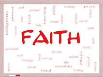 Faith Word Cloud Concept on a Whiteboard Stock Image