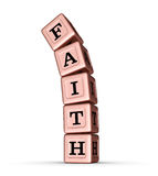 Faith Word Sign. Falling Stack of Rose Gold Metallic Toy Blocks. 3D illustration  on white background Stock Images