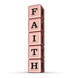 Faith Word Sign. Vertical Stack of Rose Gold Metallic Toy Blocks. 3D illustration  on white background Royalty Free Stock Images