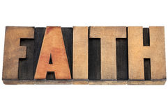 Faith word in wood type Stock Photos