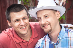 Faithful cheerful men friends lifestyle portrait symbolize male friendship Royalty Free Stock Images