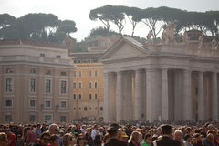 The faithful crowd in St. Peter's Square Royalty Free Stock Images