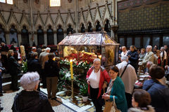 The faithful gather to look at the relics of blessed Aloysius Stepinac in Zagreb cathedral. Zagreb, Croatia on April 14, 2016 royalty free stock images