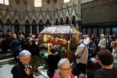 The faithful gather to look at the relics of blessed Aloysius Stepinac in Zagreb cathedral. Zagreb, Croatia on April 14, 2016 stock photo