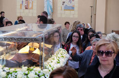 The faithful gather to look at the relics of St. Leopold Mandić in the Church of Saint Leopold Mandic, Zagreb. The faithful gather to look at the relics of royalty free stock image