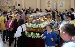 The faithful gather to look at the relics of St. Leopold Mandić in the Church of Saint Leopold Mandic, Zagreb. The faithful gather to look at the relics of stock photos