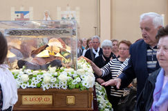 The faithful gather to look at the relics of St. Leopold Mandić in the Church of Saint Leopold Mandic, Zagreb. The faithful gather to look at the relics of royalty free stock photography