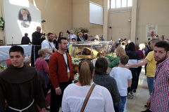 The faithful gather to look at the relics of St. Leopold Mandić in the Church of Saint Leopold Mandic, Zagreb. The faithful gather to look at the relics of stock photo