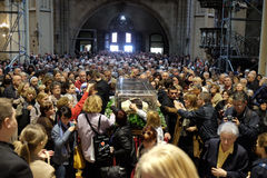 The faithful gather to look at the relics of St. Leopold Mandić at the Zagreb Cathedral. Zagreb, Croatia on April 14, 2016 stock image