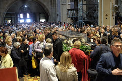 The faithful gather to look at the relics of St. Leopold Mandić at the Zagreb Cathedral. Zagreb, Croatia on April 14, 2016 royalty free stock photo