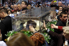 The faithful gather to look at the relics of St. Leopold Mandić at the Zagreb Cathedral. Zagreb, Croatia on April 14, 2016 stock photography