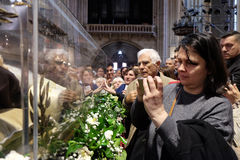 The faithful gather to look at the relics of St. Leopold Mandić at the Zagreb Cathedral. Zagreb, Croatia on April 14, 2016 stock photo