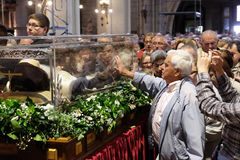 The faithful gather to look at the relics of St. Leopold Mandić at the Zagreb Cathedral. Zagreb, Croatia on April 14, 2016 royalty free stock photography
