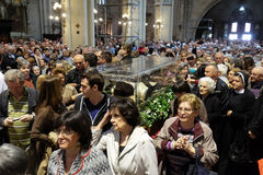 The faithful gather to look at the relics of St. Leopold Mandić at the Zagreb Cathedral. Zagreb, Croatia on April 14, 2016 royalty free stock image