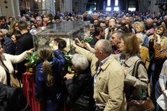 The faithful gather to look at the relics of St. Leopold Mandić at the Zagreb Cathedral. Zagreb, Croatia on April 14, 2016 stock images