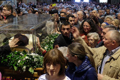 The faithful gather to look at the relics of St. Leopold Mandić at the Zagreb Cathedral Stock Photo