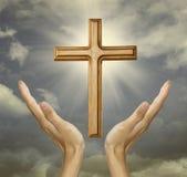 Faithful hand to the god stock photos