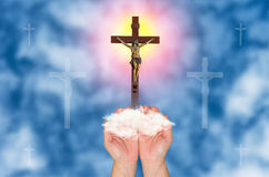 Faithful,  jesus Christ gloria background Royalty Free Stock Photos