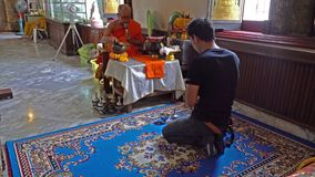 A faithful in a Temple in Bangkok. stock video footage