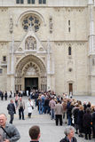 The faithful waiting in line in front of the cathedral to see the body of St. Leopold Mandic, Zagreb Stock Photography