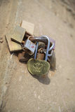 Faithfulness to love. Several padlocks of love vows locked in a iron ring Stock Photography