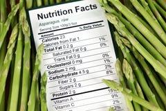 Faits de nutrition d'asperge crue Photos stock