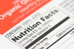 Faits de nutrition d'un cadre de Image stock