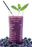 Faits de nutrition de jus de myrtille Photos stock