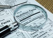 Faits de nutrition des nourritures Photo stock