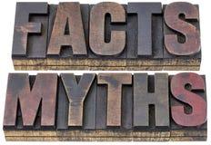 Faits et mythes dans le type en bois Image stock