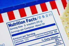 Faits nutritifs d'un cadre de biscuits Photo stock