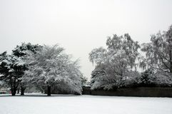 Faiwater park. Cardiff Faiwater park covered by snow, horizontally framed picture stock image