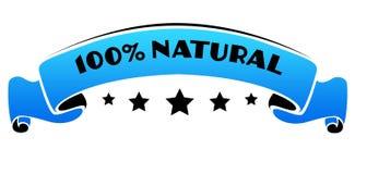 Faixa azul com 100 POR CENTO de texto NATURAL Foto de Stock
