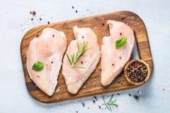 Faixa crua da galinha com opinião superior das especiarias e das ervas Fotografia de Stock
