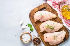 Faixa crua da galinha com opinião superior das especiarias e das ervas Imagens de Stock