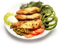 Faixa da galinha decorada com ervilha, tomate, e paprika Foto de Stock