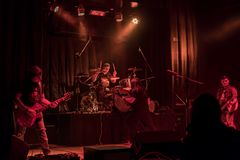 Faixa da música no concerto Fotos de Stock