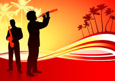 Faixa da música a o vivo no fundo vermelho tropical ilustração do vetor