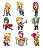 Faixa da música rock do metal pesado dos desenhos animados Imagem de Stock
