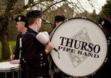 Faixa da tubulação de Thurso no Carlow Pan Celtic Festival fotografia de stock