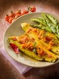 Faixa de peixes com pimenta de pimentão quente do tomate Imagem de Stock Royalty Free