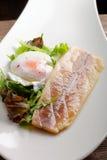 Faixa de peixes cozinhada com ovo e salada Fotografia de Stock Royalty Free