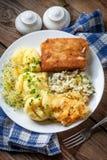 Faixa de peixes fritada do bacalhau Foto de Stock Royalty Free