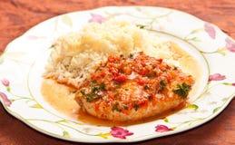 Faixa do atum com molho e arroz de tomate Foto de Stock