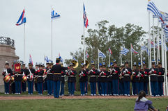 Faixa do exército de Uruguai que comemora o aniversário 206 do Batalla de Las Piedras, Canelones, Uruguai, o 18 de maio de 2017 Imagem de Stock