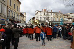 Faixa do músico durante o carnaval de Limoux Fotografia de Stock Royalty Free