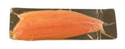 Faixa dos salmões ou da truta isolada no fundo branco fotos de stock royalty free