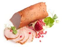 Faixa fritada da carne de porco decorada com romã? Fotos de Stock Royalty Free