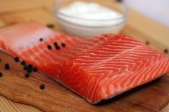 Faixa Salmon antes de cozinhar foto de stock