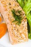 Faixa Salmon com molho da alcaparra e do aneto Imagens de Stock